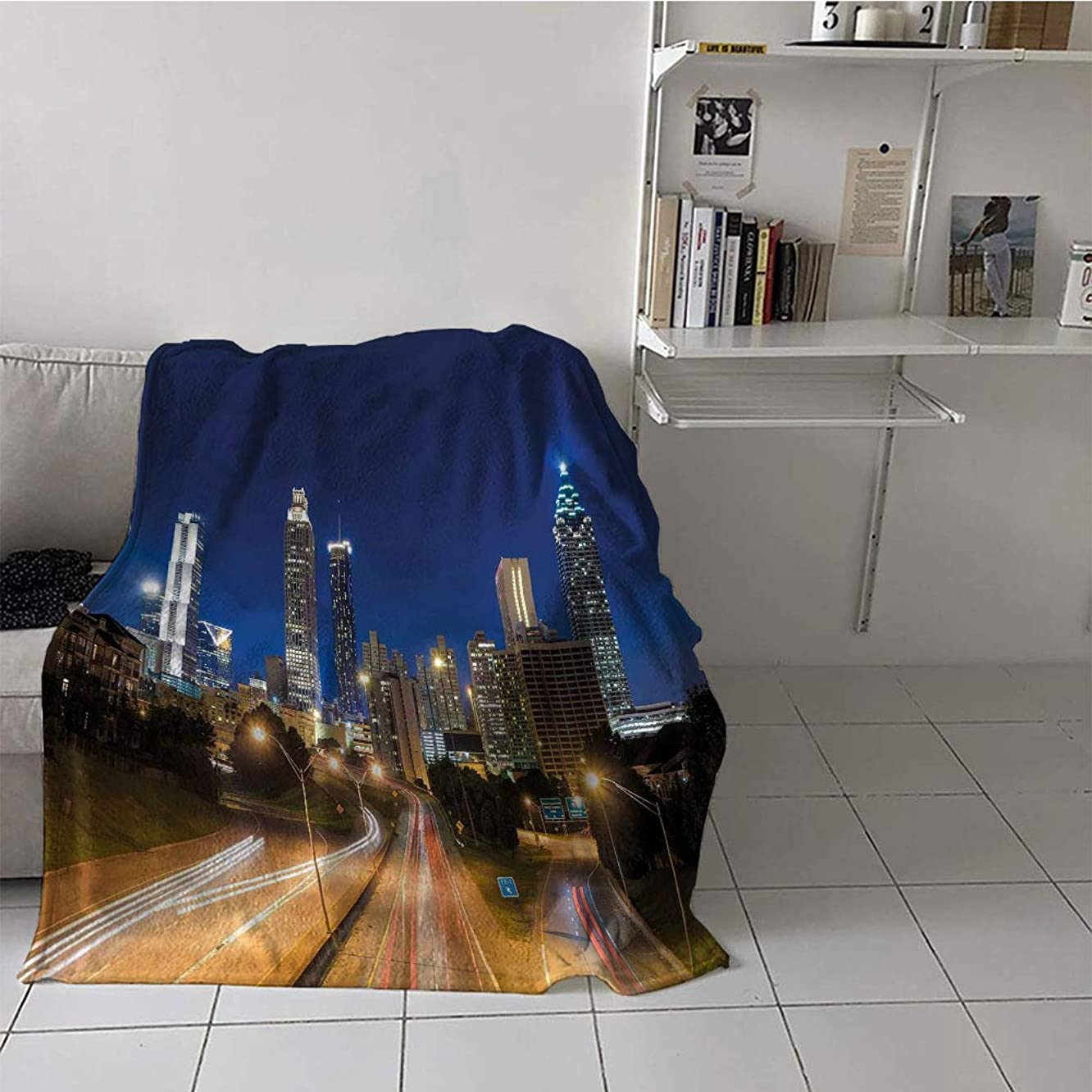 Khaki home Children's Blanket Digital Printing Print Summer Quilt Comforter (60 by 62 Inch,Urban,Image of Atlanta Skyline Twilight with Highway Buildings Skyscrapers Blurred Motion,Multicolor