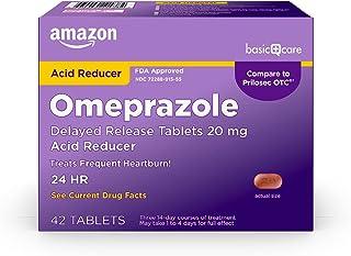 Amazon Basic Care Omeprazole Delayed Release Tablets 20 mg, Acid Reducer, treats frequent heartburn,, Cream, Regular, 42 C...