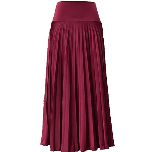 1e1bd9e517 Hayaa Clothing Pearly Sheen Pleated Floor Length Maxi Skirts Foldable High  WaistBand