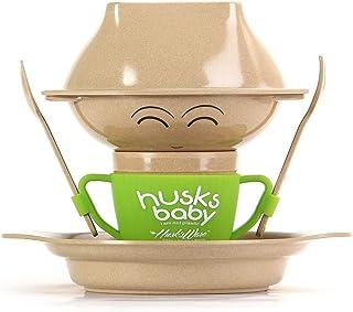 ERTONGHUANBAOCANJU Cartoon Plate Anti-fall Eco-Friendly Dinnerware Set Rice Husk Children's Tableware Set With Spoon Cup B...