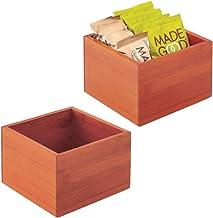 mDesign boîte en bois de bambou en lot de 2 – boîte de rangement empilable en bois de bambou écoresponsable – boîte à thé ...