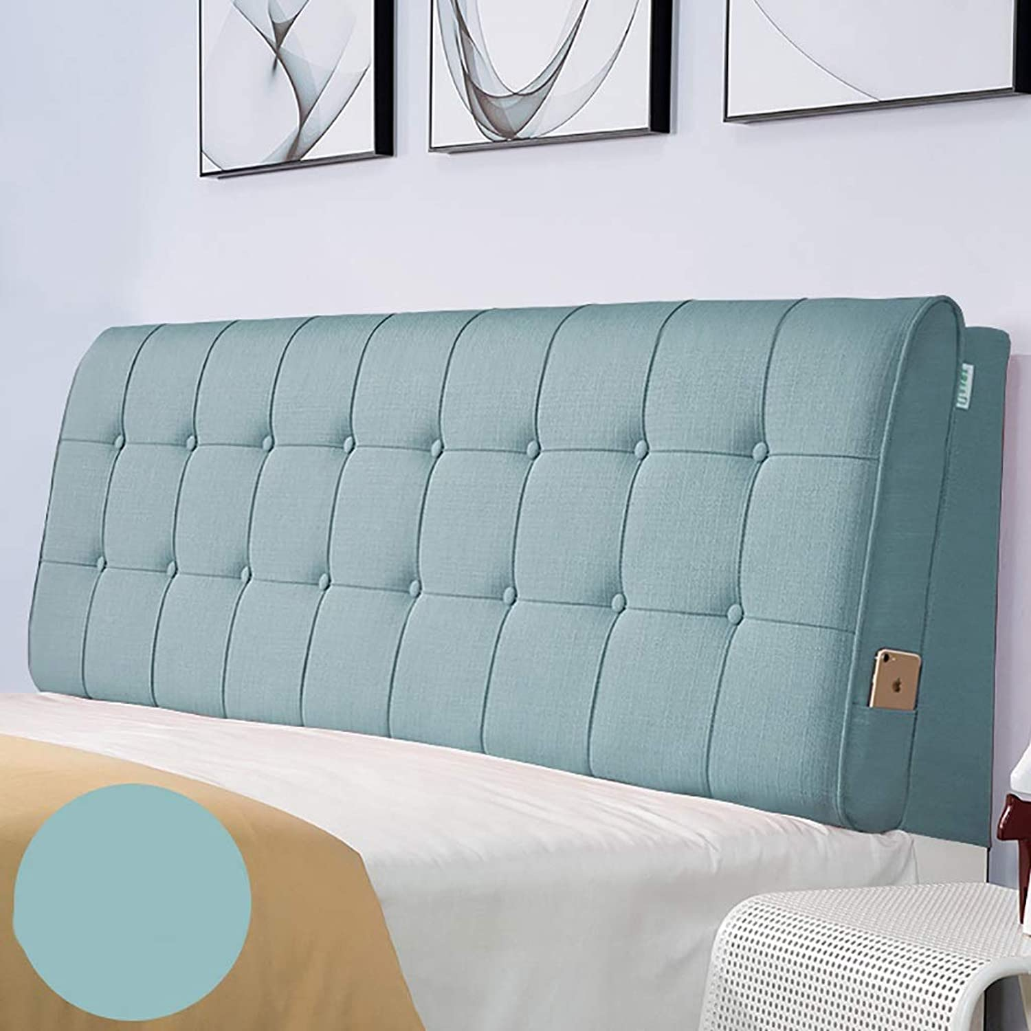 Large Soft Upholstered Headboard Cushion Wall Pillow Linen Fabric Lumbar Pad Bed Backrest Breathable Removable Washable (color   D, Size   120CM)