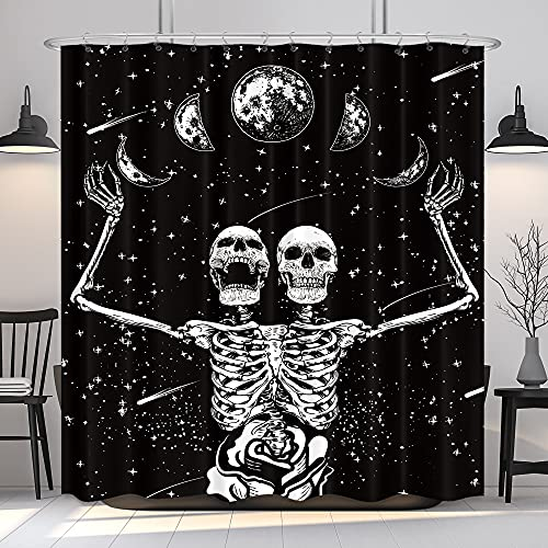 KOMLLEX Funny Skull Skeleton Shower Curtain for Bathroom 60Wx72H Inch Gothic Black White Halloween Sugar Candy Skull Day Bath Decor Moonlit Phase Starry Night Fabric Waterproof Polyester 12 Pack Hooks