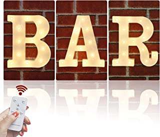 Obrecis LED White Bar Illuminated Marquee Signs Marquee Letters, Light Up Letters Remote Control Diamond Bulbs Bar Sign for Pub, Bar, Bistro, Party, Wall Decor-BAR(Warm White)