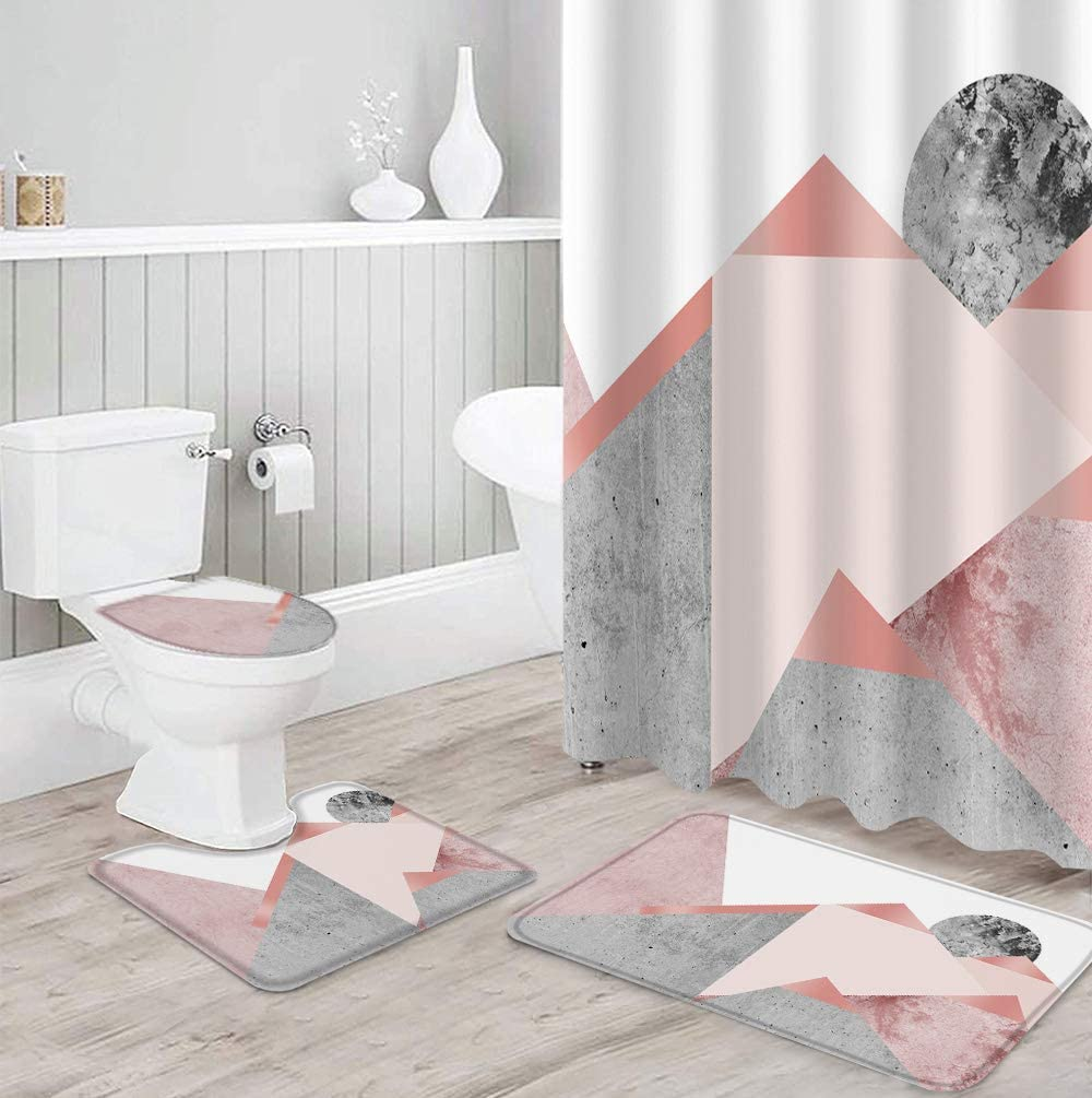 Shower Curtain Set 4 Piece for High order Toil Rugs Non-Slip 5 ☆ popular Bathroom with
