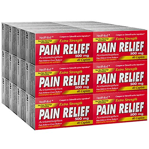 HealthA2Z Pain Relief Extra Strength, Acetaminophen 500mg, Compare to Tylenol Active Ingredient, 24 Packs of 40 Caplets(960 Tablets Total), Uncoated, Value Package