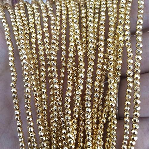 Cuentas de piedra natural facetadas de 3 mm de cristal de lapislázuli ágata perlas para hacer joyas encanto DIY pulsera Material oro hematita 3mm 120pcs cuentas