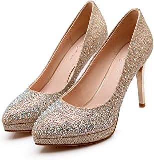 Shiny Rhinestones High Heels For Banquet Wedding Dress Daily (Color : Golden, Size : 36)
