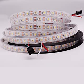 JERCIO RGBW+WW Warm White SK6812 (Similar WS2812B) 16.4ft 5m 60leds/Pixels/m Individually Addressable 4 Color in 1 LED DC 5V Dream Color LED Strip IP67 Waterproof (5m IP67)