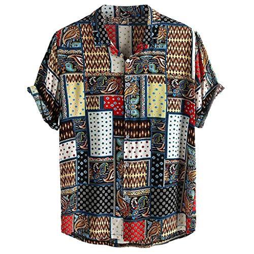 Xmiral Camicia Maniche Corte Camicie Casual da Uomo Stampate a Manica Corta da Uomo Summer Tops (7- Blu, L)