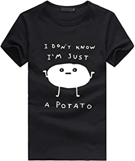 I Don't Know I'm Just A Potato Shirt Women Teen Girls Vintage T-Shirt Funny Tops Tees Gifts SADUORHAPPY T-Shirt