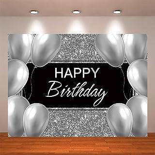 Crefelicid 2,1 x 1,5 m Happy Birthday Hintergrund Glänzend Silber Hintergründe Kinder Baby Erwachsene Geburtstag Fotografie Party Photo Booth Dekorationen Zubehör