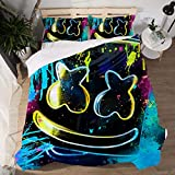 Yicool 3 Piece Twin Size Bedding Sheet Set Music DJ Polyester Blend Quilt Cover and Pillowcases Cartoon Happer Helmet Style
