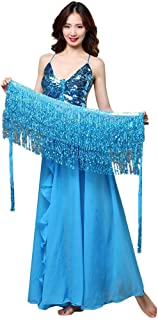 ZSBAYU Women's Sweet Bellydance Hip Scarf with Outfit Sequins Tassels Bead Chiffon Skirts Wrap Noisy Sling Pleated Dress