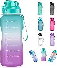 4AMinLA - Botella de Agua Motivacional de 2,2 l y 64 oz con Pajita y Marcador de Tiempo, Gran Capacidad, a Prueba de Fugas...