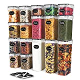 Airtight Food Storage Containers Set,TAEVEKE Cereal & Dry Food Storage Container with Lids Set of 17, BPA Free Plastic Canisters for Kitchen Pantry Organization,Leak-proof with Labels &Marker (Black)