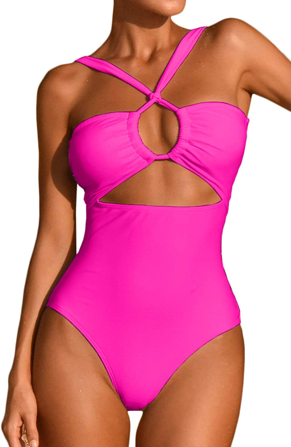 ioiom Women's Sexy Front Cross One Piece Swimsuits High Waisted Tummy Control Bathing Suits