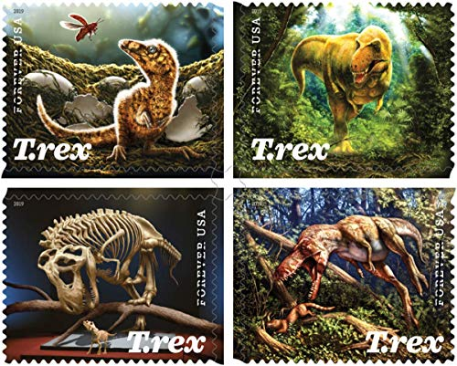 Tyrannosaurus Rex (T Rex) Sheet of 16 Forever First Class US Postage Stamps Prehistoric Dinosaur (16 stamps)