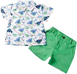 YESOT Summer Toddler Baby Boys Short Sleeve Casual Cartoon Dinosaur Print Shirt Solid Shorts Outfit Set