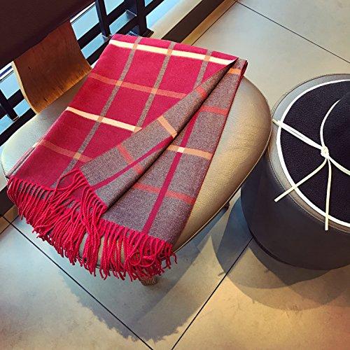 BAGEHUAN Herbst und Winter Schals weibliche Schal Grid Quaste Doppel Schal-Dual-Use-warmen Schalkragen, Rot