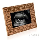 KATE POSH - Love at First Sight - I Love You Grandbaby - Baby Sonogram Photo Frame - Engraved Natural Wood Picture Frame (3 1/2 x 5 Horizontal)