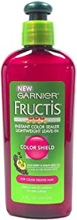 Garnier Fructis Instant Color Sealer Lightweight Leave-in Color Shield Acai Berry and Grape Seed Oil Uva and Uvb Protectant for Color Treated Hair Seals in Color and Conditions 6 Oz