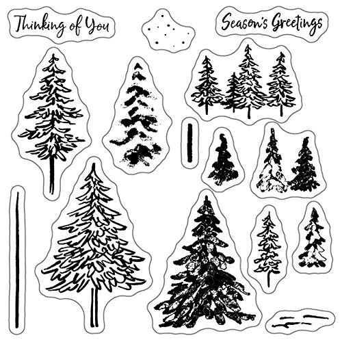 Merry Christmas Tree Animal Clear Stamp and Santa Claus Elk Metal Cutting Dies Sets Scrapbooking for Crafts Card Making,Clear,Dies