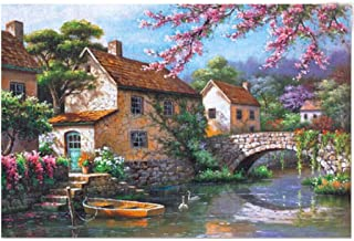 Jigsaw Puzzles 1000 Pieces for Kids Adults Jigsaw Puzzle England Cottage Bridge Landscape Painting Jigsaw Puzzles Interesting Education Toys Perfect for Family Puzzle Game