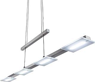 4x4W Lámpara colgante metal y plastico LED 230V, regulable en altura, luz blanco cálido 3000K, Color níquel mate, IP20