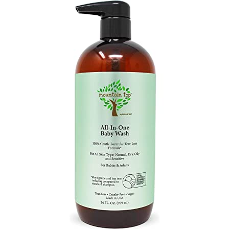 MOUNTAIN TOP All-in-One Baby Wash with Premium USDA Biobased Ingredients (Sulfate-Free, Tear-Free), 24 Fl Oz