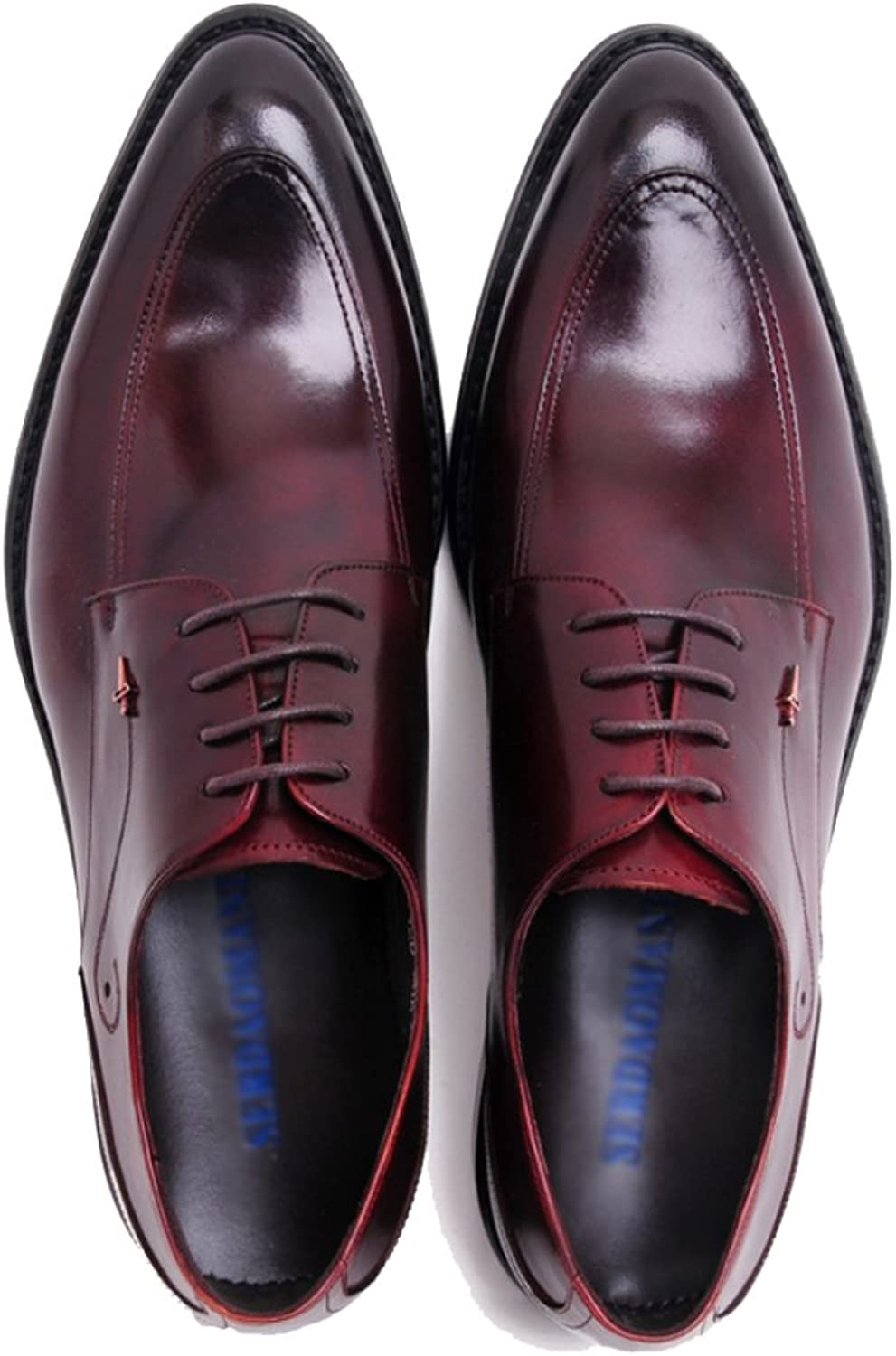 SHANHEYY Men's Pointed-Toe Brogues Formal Oxford Genuine Leather Wedding shoes Derby