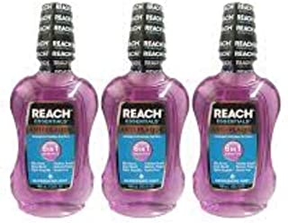3 Pack Of Reach Essentials Anti-Plaque 6 In 1 Benefits Refreshing Mint Mouthwash 400 ml