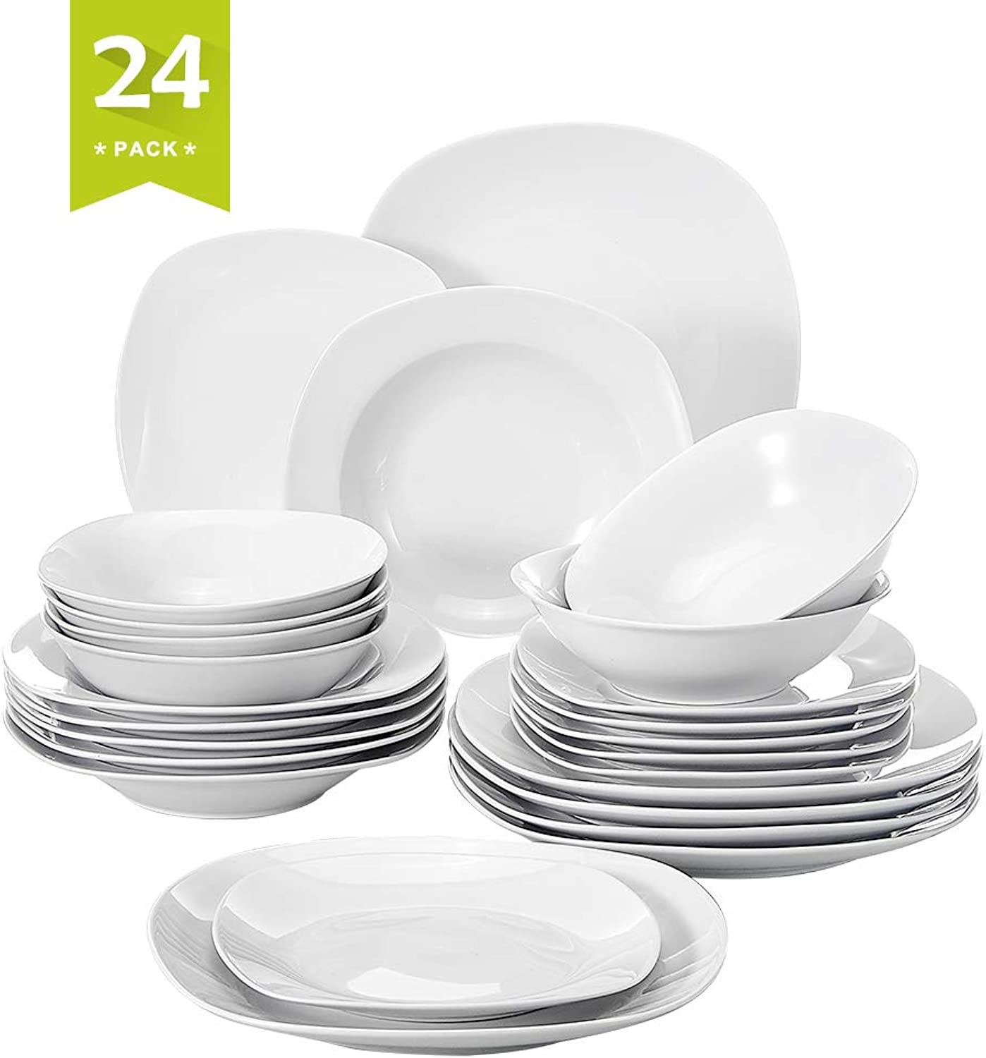 Malacasa, Series Elisa, 24-Piece Ivory White Porcelain Dinnerware Sets of 9.75  Dinner Plate, 8.5  Soup Plate, 7.5  Dessert Plates and 6.7  Bowl Set Service for 6