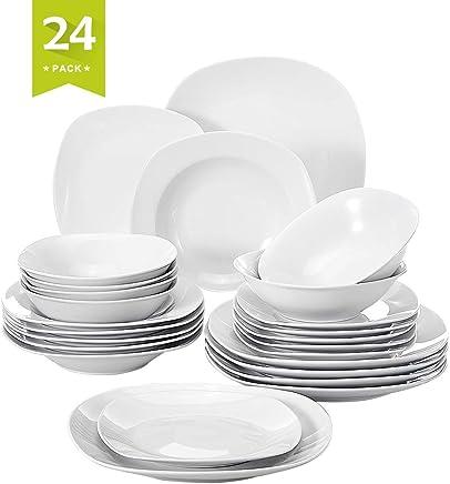 MALACASA, Serie Elisa, 24 teilig Set Porzellan Tafelservice Kombiservice Geschirrset mit je 6 Speiseteller, 6 Dessertteller, 6 Suppenteller, 6 Schüsseln für 6 Personen preisvergleich bei geschirr-verleih.eu