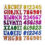 SUPVOX Pasters Numbers Letters Auto-Adhesive Glitter Backing Handmade Crafts Pegatinas para niños 1Pack (2 Sets)