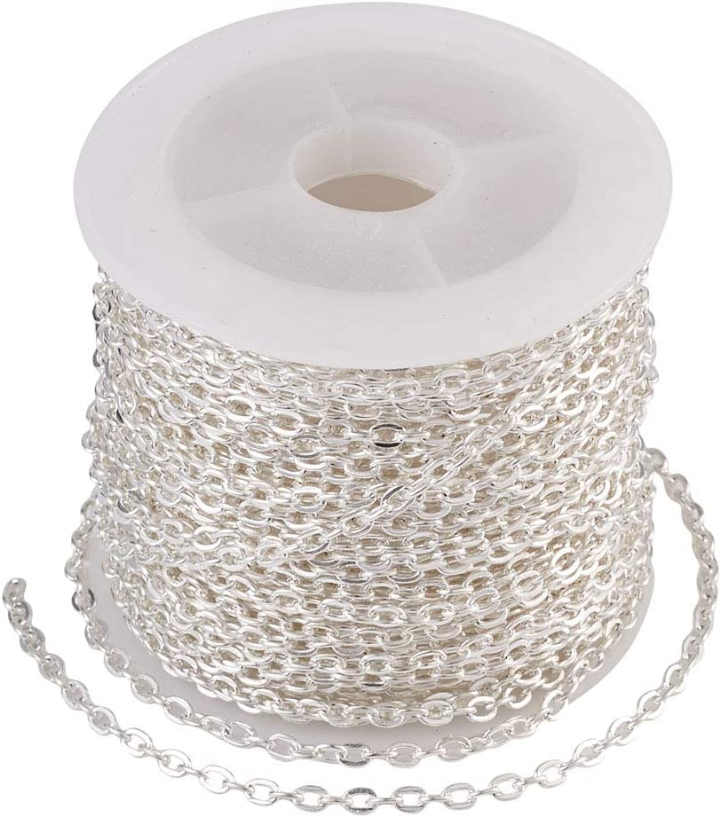 Cheriswelry 328FT Silver Cable Chains Twisted Cross Chain Necklace Link with Spool for Jewellery Making DIY Crafts Accessories