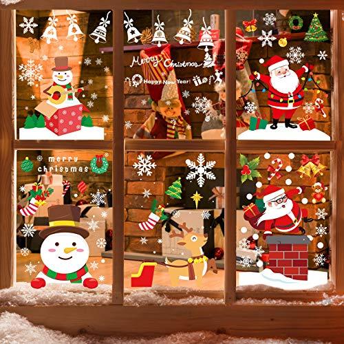 WD&CD Pegatinas Navidad para Ventanas, Pegatina de Pared, Pegatina Copo de Nieve, Papá Noel Muñeco de Nieve Alce de La Puerta Decoración Ventana Reutilizable Bricolaje Pegatinas Electrostáticas