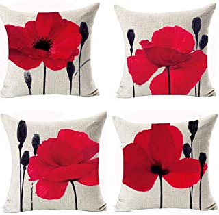 Andreannie Beautiful Charming Watercolor Oil Painting Red Poppy Sweetheart Cotton Linen Throw Pillow Case Cushion Cover Ne...
