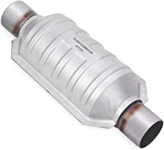 YITAMOTOR 2 inch In & Out Catalytic Converter with O2 Nut Universal Stainless Steel High Flow Converter (EPA Compliant)