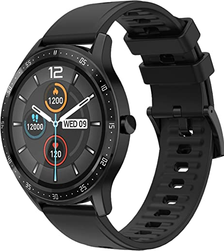 Fire-Boltt 360 SpO2 Full Touch Large Display Round Smart Watch with in-Built Games, 8 Days Battery Life, IP67 Water Resistant with Blood Oxygen and Heart Rate Monitoring (Black), M (BSW003)