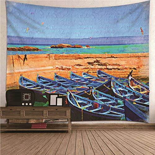 KnSam Tapiz de Pared para Colgar en la Pared con Mar y Barcos, Poliéster Patrón de impresión 3D Tapiz de Pared con Decoración para el hogar, Dormitorio o Decoración (Vistoso, 200x200CM
