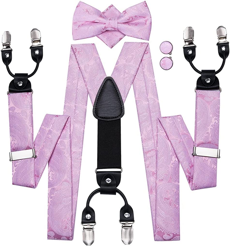 YFQHDD Men's Wedding Party Suspender and Bow Tie Set Leather 6 Clips Braces Vintage Fashion Pink Floral Suspenders (Color : A, Size : Adjustable)