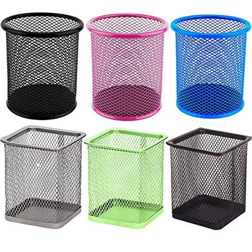 portapenne rete metallica Fiyuer 6 Pcs Portapenne Rotondo scatola portaoggetti da organizer per scrivania ufficio scuola