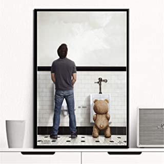 NATVVA Wall Art Ted Bear Funny Movie Toilet Posters Canvas Art Painting Picture Printed Gifts Artist Home Decor Artwork for Living Room Wall Decoration No Frame