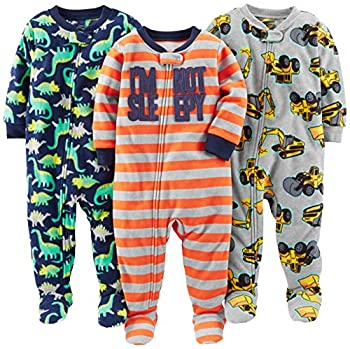 Simple Joys by Carter s Baby Boys  Toddler 3-Pack Loose Fit Flame Resistant Fleece Footed Pajamas Red Stripe/Diggers/Dino 5T