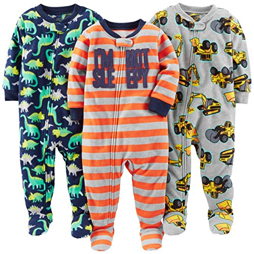 Simple Joys by Carter's Baby Boys' 3-Pack Loose Fit Flame Resistant Fleece Footed Pajamas, Red Stripe/Diggers/Dino, 18 Months