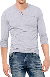Mens Slim Fit Long Sleeve Beefy Fashion Casual Henley T Shirts of Cotton Shirts