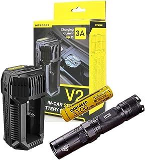 Value Bundle: NITECORE EC23 CREE XHP35 HD E2 LED Flashlight - 1800 Lumens with NITECORE V2 In-car Speedy Battery Charger - 3A & 1 x IMR18650 Battery - 3100mAh - 10A
