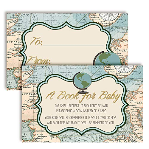 """Adventure Awaits World Traveler Gender Neutral """"Bring A Book"""" Cards for Baby Showers, 20 2.5 by 4 Inch Double Sided Insert Cards by AmandaCreation, Invite Guests to Bring A Book for The Baby"""
