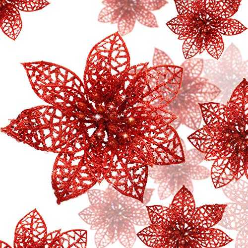 WILLBOND 36 Pieces Christmas Glitter Poinsettia Flowers Artificial Flowers Wedding Glitter Christmas Tree New Year Ornaments (Red)